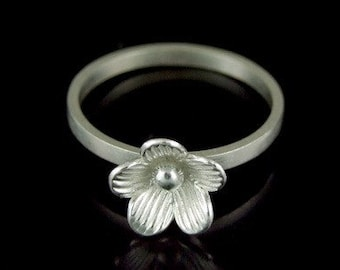 Sil-R-005 Handmade 1 flower sterling silver stacking rings