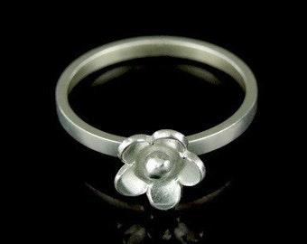 Sil-R-003 Handmade 1 flower sterling silver stacking rings