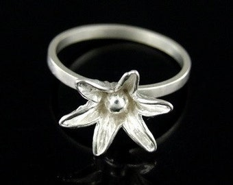 Sil-R-006 Handmade 1 flower sterling silver stacking rings