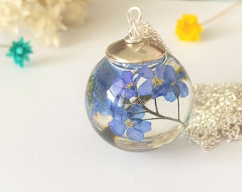 Forget me Not Necklace, Real Flower Necklace, Resin Necklace, Something Blue,  Remembrance Necklace, Mothers Day Gift