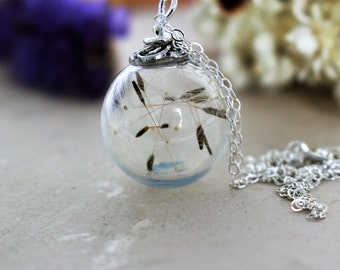 Dandelion Necklace, Fairy Necklace, Handblown Glass, Floral Jewelry, Real Dandelion, Handmade by Wishes on the Wind