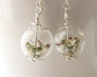 Lucky White Heather Earrings - Real Flower - Bridal Wedding Bridesmaid, Gift for Her, Boho Wedding, Inspirational