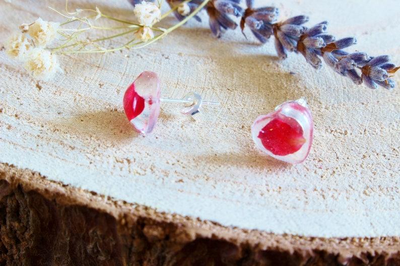 Real Flower Earrings Petals Preserved Botanical Jewellery Valentines Gift Wildflower Jewelry Rose Petal Earrings Red Rose Earrings