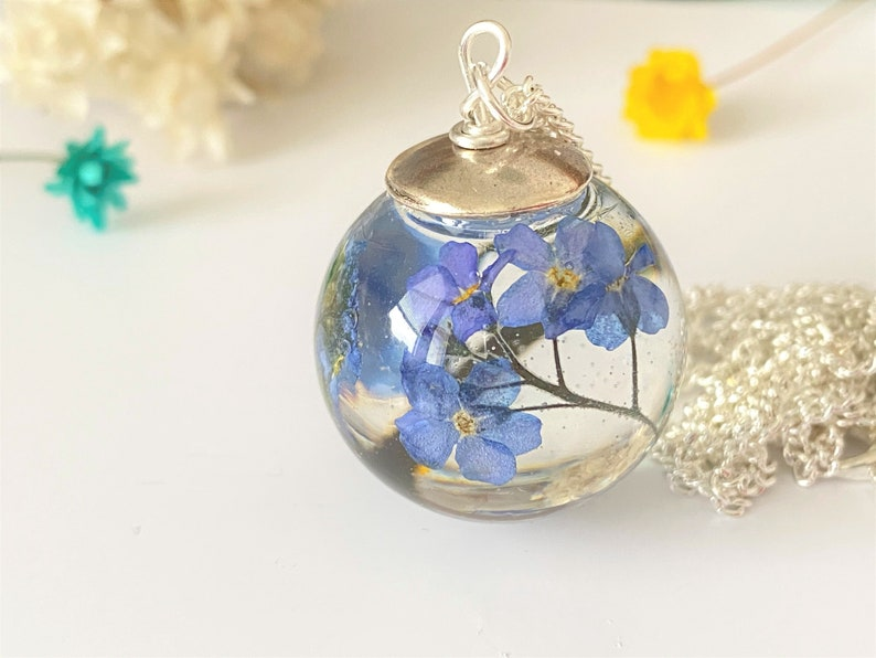 Forget me Not Necklace Real Flower Necklace Resin Necklace image 0