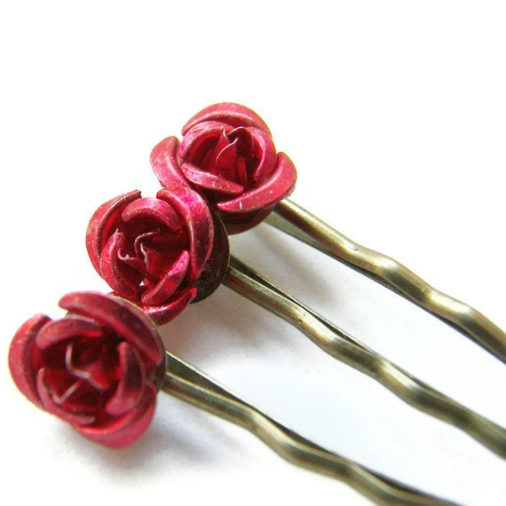 rote rose bobby pin set weihnachtsgeschenk geschenk f r mama etsy. Black Bedroom Furniture Sets. Home Design Ideas