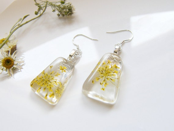 Yellow real flower earrings Gift for her Yellow jewelry Yellow leaf earrings Pressed flower art Flower earrings Yellow earrings