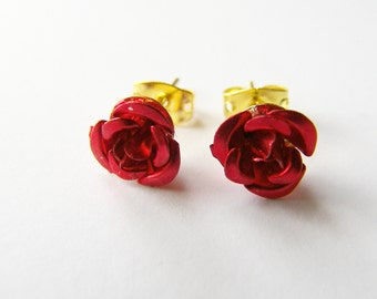 Christmas Gift, Dainty Red Rose Earrings, Studs, Post