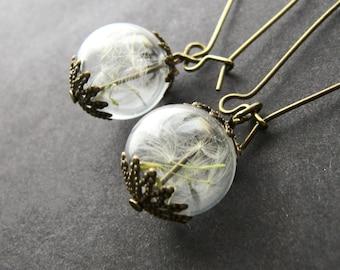 Dandelion Earrings, Botanical Jewellery, Rustic Wedding, Fairy Jewelry, Glass Globes, Make a Wish, Gift for her, Inspirational Gift