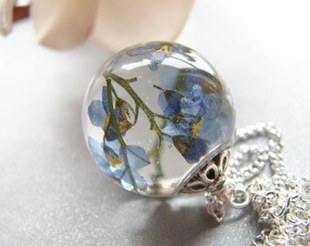 Forget me Not Necklace, Flower Necklace, Memorial Gift, Something Blue,  Remembrance Necklace, Resin Jewellery, Gift for Her, Real Flower