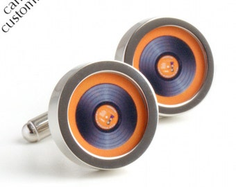 DJ Cufflinks in Orange Vinyl, Spin the Record Right Round Baby PC400