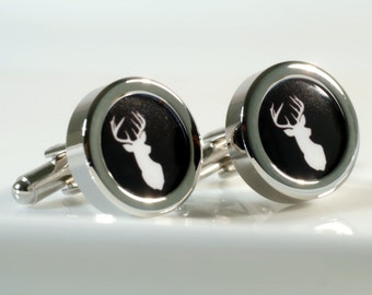 Stag Cufflinks Personalized Stag Head Cufflinks, Gift for Men, Gift for Dad, Gift for Boyfriend, Stag Gift, Stag Wedding, Stag Antlers