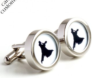 Dancing the Waltz Cufflinks in Black and White - Colour can be Customised PC399