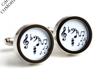 Music Cufflinks Musician Gift Musical Notes in Black and White PC222