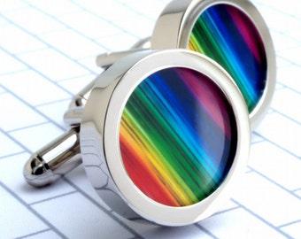 Rainbow Cuff Links Colorful Cufflinks to Wear with Pride Gay Pride Cufflinks LGBT PC026