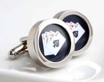 Hand of Cards Cufflinks Featuring each of the Four Suits