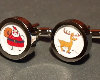 Personalised Christmas Cufflinks of Your Childs Artwork Custom Christmas Gift for Fathers and Grandfathers