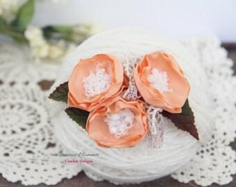 Newborn Tieback, Apricot Bloom Tieback, Newborn Tie Back Headband, Vintage Headband, Flower Tieback, Newborn Photo Prop, Newborn Halo