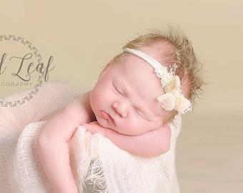 Newborn Bow Tieback, Newborn Tieback Headband, Newborn Tie Back, Cream Blush Bow Tieback, Vintage Headband, Newborn Photo Prop, Organic Halo