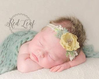 Newborn Tieback, Vintage Yellow Tieback , Newborn Tie Back Headband, Newborn Photo Prop, Vintage Headband, Flower Tieback, Newborn Halo