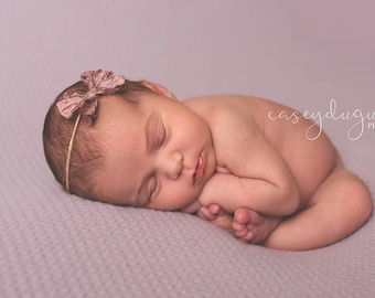 Newborn Bow Tieback, Baby Tieback Headband, Newborn Tie Back, Silk Mauve Bow, Newborn Vintage Headband, Bow Headband,  Newborn Photo Prop