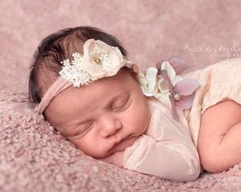 Newborn Tieback, Cream Beige Mauve Tieback, Newborn Tie Back Headband, Vintage Headband, Flower Tieback, Newborn Photo Prop, Newborn Halo