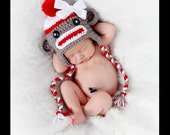 Sock Monkey Beanie Hat Baby Crocheted Unique Photo Prop Select Your Size