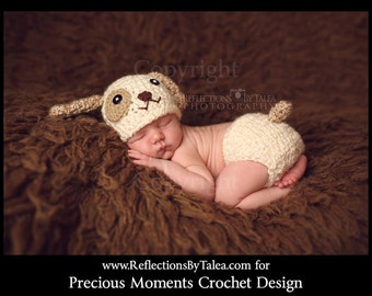 Puppy Set - Newborn  Puppy Hat and Diaper Cover, Baby Puppy Hat and Diaper, Crochet Puppy Hat, Newborn Crochet PHOTO PROP