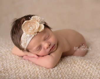 Cream Flower Tieback, Newborn Photo Prop,  Newborn Tieback,  Organic Headband, Neutral, Vintage Tieback, Headband Tieback , Newborn Halo