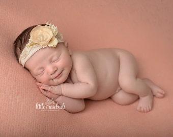 Newborn Photo Prop - Newborn Tieback, Cream Flower Tieback, Organic Headband, Neutral, Vintage Tieback, Baby Headband, Newborn Halo, Lace