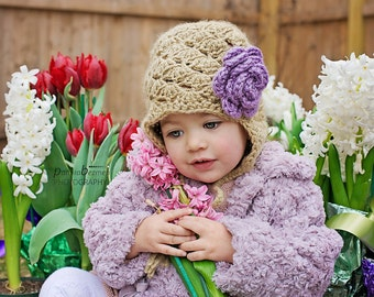 Toddler Girls Hat, Toddler Girl Hat with Earflaps , Vintage Inspired Girl Hat with Flowers, Tan Girl Hat, Spring Toddler Hat