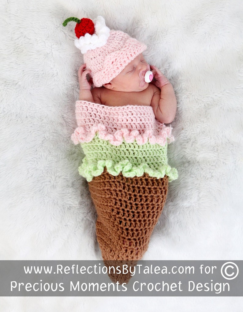 e1dea21ce49 Newborn Cocoon Baby Cocoon ICE CREAM CONE Cocoon and Hat