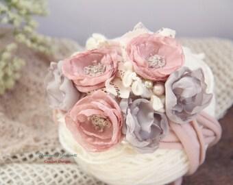 Newborn Photo Prop, Vintage Inspired Tieback, Newborn Headband, Baby Halo, Mauve Taupe Flowers, Floral Crown, Baby Tie back, Organic, Halo
