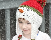Christmas Snowman Hat for Newborn Toddler Child, Baby Holiday Hat, Newborn Snowman Crochet Hat Photo Prop, Red Green White with Pom Pom