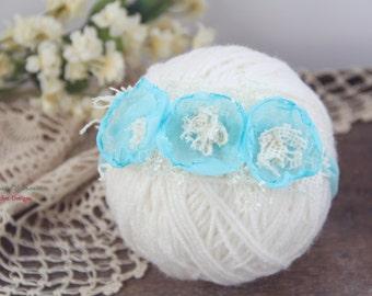 Aqua Flowers Newborn Tieback, Baby Tieback, Newborn Headband, Spring Flowers Tieback, Newborn Photo Prop, Flower Crown, Organic Headband