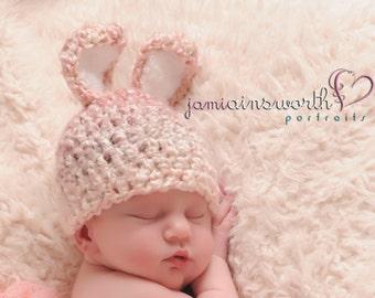 Baby Bunny Hat - Newborn Pink Bunny Hat, Baby Easter Hat, Girl Bunny Hat, Newborn Easter Hat,  Crochet Bunny Hat, Baby PHOTO PROP