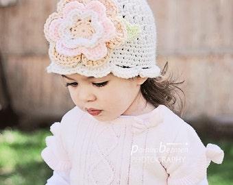 Toddler Girls Hats, Crochet Girl Hat, Toddler Crochet Hat, Neutral Colors Girl Hat with Flower, Soft Colors Girl Hat, Spring Toddler Hat