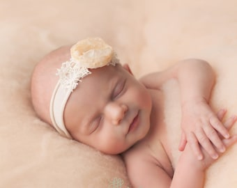 Newborn Tieback, Cream Flower Tieback, Newborn Photo Prop, Newborn Tie Back Headband, Vintage Headband, Flower Tieback, Newborn Halo, Beige