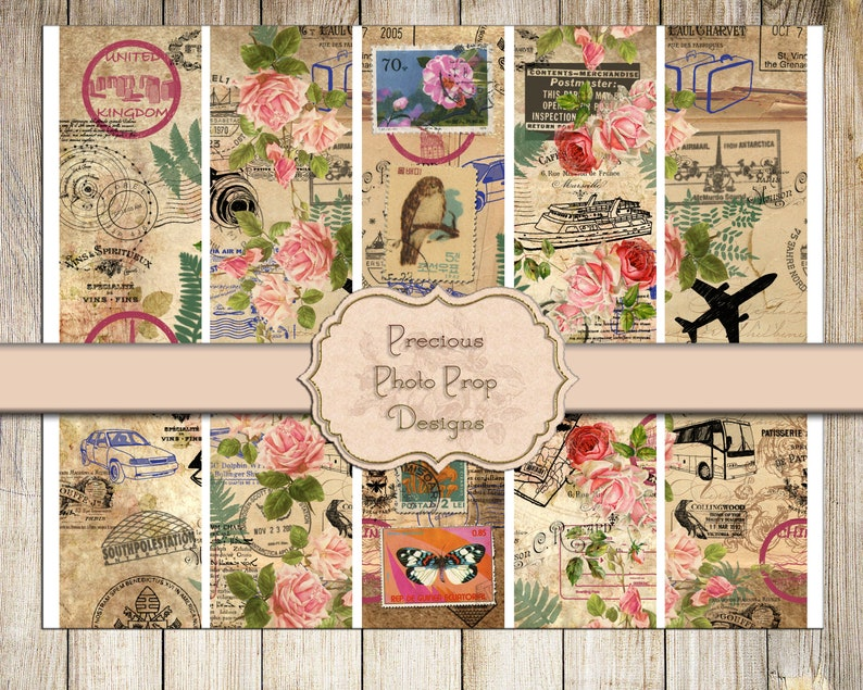 graphic about Printable Stamps referred to as Common Printable Rip Strips for Junk Magazines, Push Stamps Floral Postage Border Washi Tape Electronic Sbook Down load, Antique Ephemera