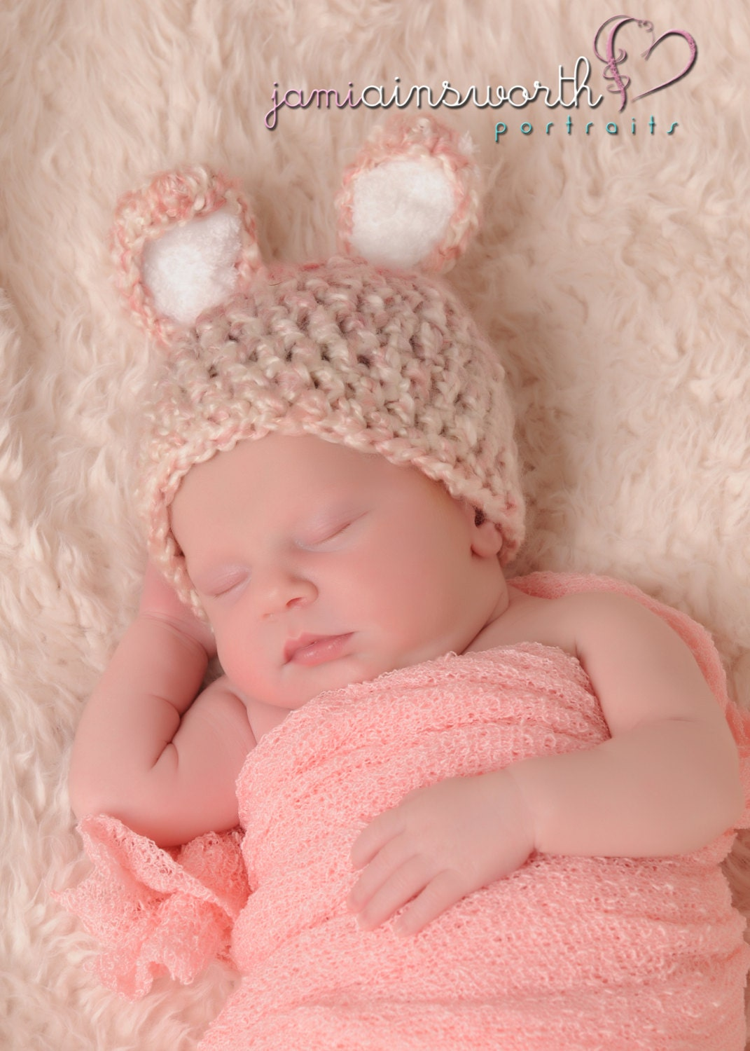 Easter Handmade crochet Oatmeal bunny Bonnet Photo photography prop Newborn