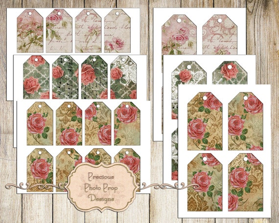 Digital collage sheet 5 circles and 2 backgrounds Instant download. 4 cards Botanical Garden Scrap Kit Set of 2 tags