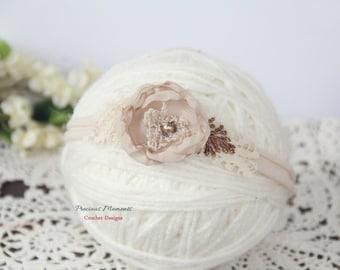 Newborn Headband, Cream Beige Flower Tieback, Newborn Tieback, Newborn Photo Prop, Newborn Tie Back Headband, Flower Tieback, Newborn Halo