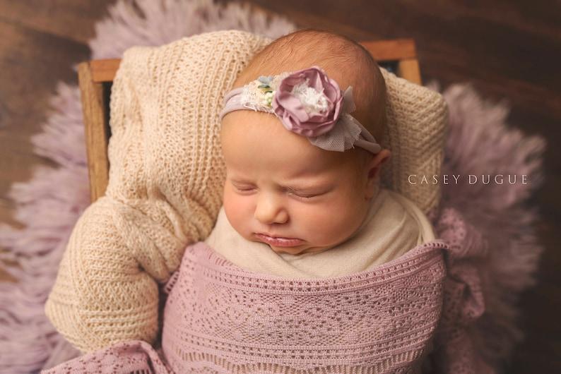 Newborn Tieback Headband Newborn Halo Floral Crown Newborn Photo Prop Newborn Tie Back Floral Tieback Spring Baby Dusty Plum Tieback