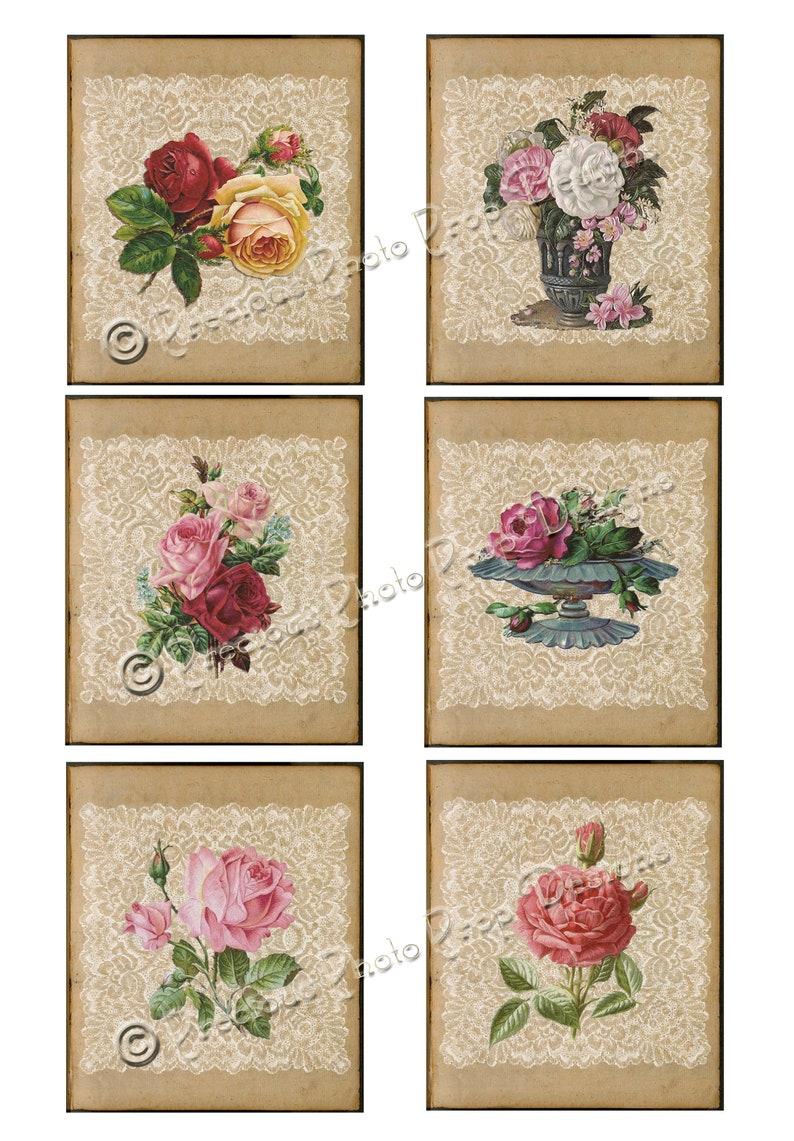 Vintage Ephemera Printable for Junk Journals Vintage Grungy Floral Journaling Cards Rose and Lace Digital  Download for Scrapbook Planner