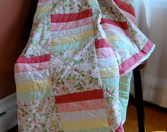 Twin Coverlet Quilt, Hand Quilted Traditional Patchwork Blanket, Pink Bedding