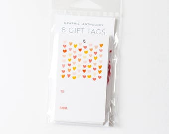 Lots of Love Gift Tags | Heart patterned tags with baker's twine | Set of 8
