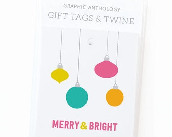Merry Ornaments Holiday Gift Tags | Merry & Bright Christmas Gift Wrap | Set of 8 Tags with Baker's Twine