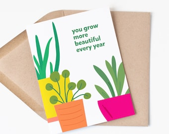 More Beautiful Birthday Card | Plant Theme Happy Birthday | Plant Lover | Houseplant Love
