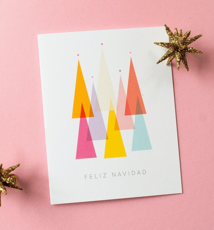 Feliz Navidad Spanish Christmas Card Colorful Minimal | Etsy