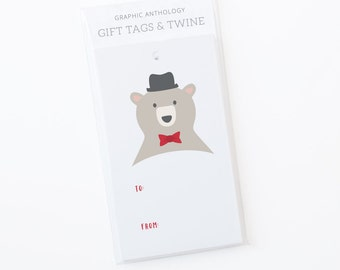 Papa Bear Gift Tags | Teddy Bear tags with Baker's Twine | Set of 8