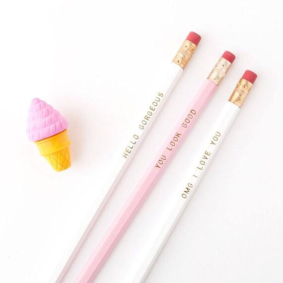 Gold Foil Imprinted Pencil Set OMG I Love You Set of 6 2 Hex Pencils White No